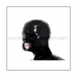 Mobile Preview: Black latex hood H-BLOW with zipper, anatomical 3-panel shape of latex-sheeting and blowjob-mouth