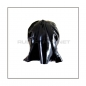 Preview: Black latex hood H-BLOW with zipper, anatomical 3-panel shape of latex-sheeting and blowjob-mouth