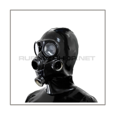 Deluxe gasmask-zipper-hood HR-G2 with two gasmasks threads and thread cover - model GP7