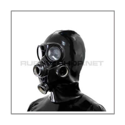 Deluxe gasmask-zipper-hood HR-G3 with three gasmasks threads and two thread cover - model GP7