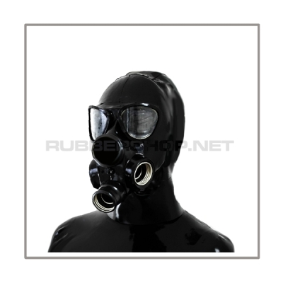 Deluxe gasmask-zipper-hood HR-P3 with three gasmasks threads and two thread cover - model PMK-2TA