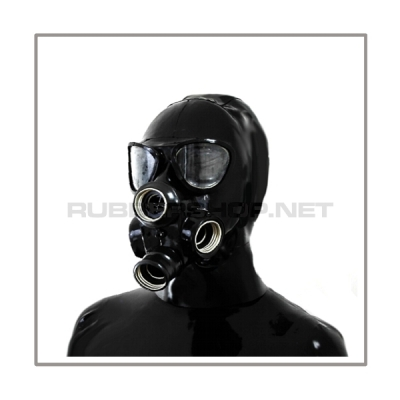 Deluxe gasmask-zipper-hood HR-P4 with four gasmasks threads and three thread cover - model PMK