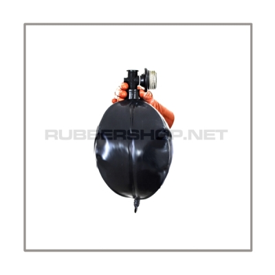 Rebreathing bag RB-W3 with angled gasmaskthread-port, breathingreduction-adaptor and 3 litre volume