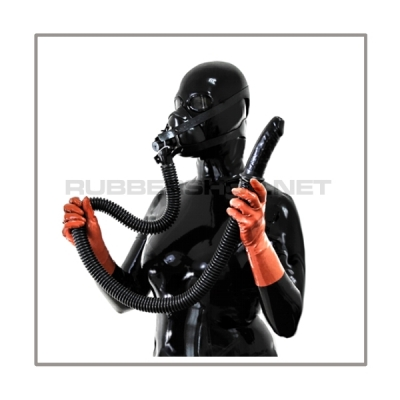 Respiratormask-set AIR-S-H with 100 cm = 40 inch tube, head-harness and Studio Gum breathable sniffdildo