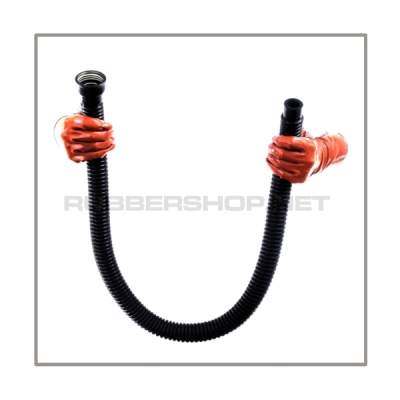 Gasmask-tube T100-D-FM highly flexible with length 100 cm = 40 inch and gasmask-connectorthreads female to 22 mm mediport female
