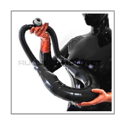 Neckrespirator-rubbersmellbagsystem with 2 tubes and gasmask-t-joint