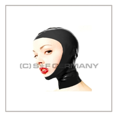 Black openface latex hood OFH-BZ with zipper and anatomical 2-panel shape of latex-sheeting