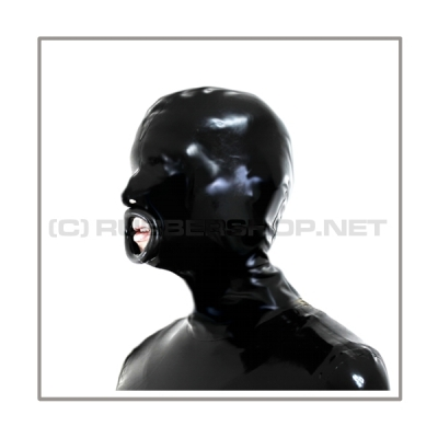 Black latex hood H-BLOW with zipper, anatomical 3-panel shape of latex-sheeting and blowjob-mouth