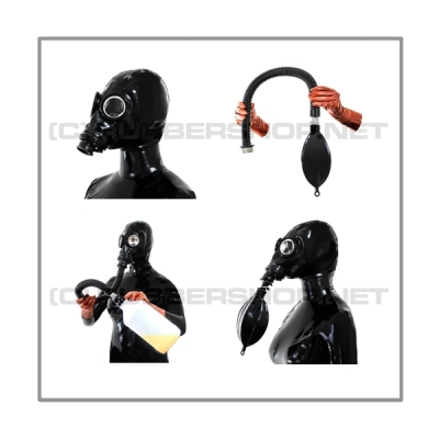 Deluxe M41-GP5 gasmask-zipperhood-system BUBBLE-M with inhaler-set, tube- and rebreathing-bag-set