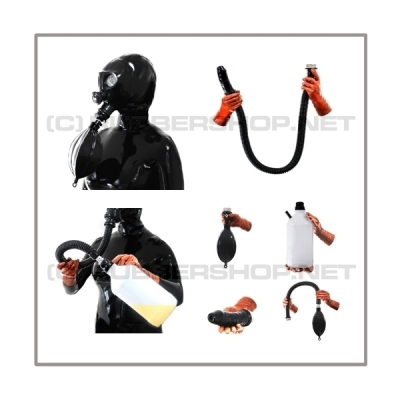 Deluxe NEORGA gasmask-zipperhood-system ULTIMATE-N with tube-set, sniffdildo, inhaler-set and rebreathing-bag-set