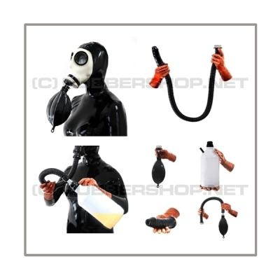 Deluxe Z56 gasmask-zipperhood-system ULTIMATE-Z with tube-set, sniffdildo, inhaler-set and rebreathing-bag-set