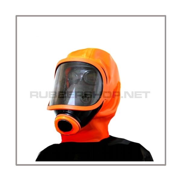 Deluxe gasmask-zipper-hood HR-X with panoramic-view - model Climax orange