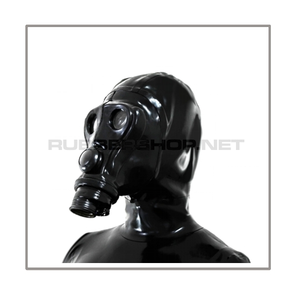 Deluxe SIMIAN gasmask-zipperhood-system PROTECT-A with ringtube-set and rebreathing-bag