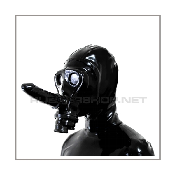 Deluxe gasmask-zipper-hood HR-AF - facesitting-edition - with detachable dildostick and thread-cover - model SIMIAN