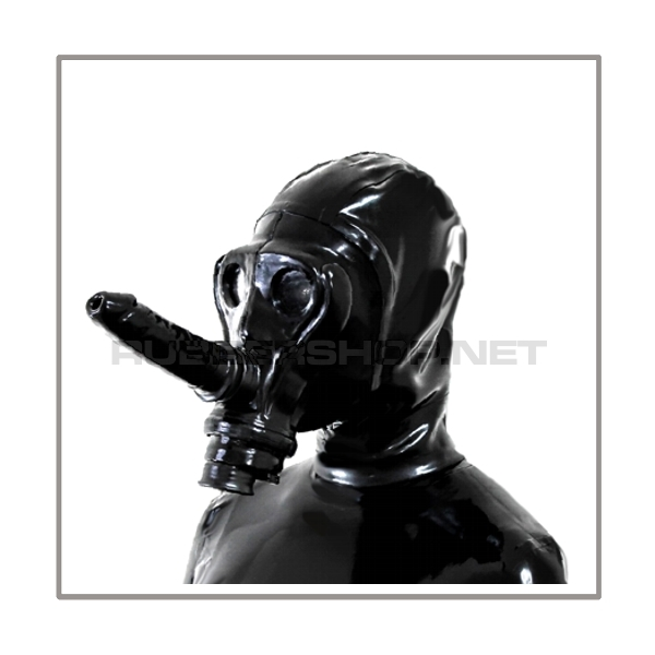 Deluxe gasmask-zipper-hood HR-AS - with detachable breathable sniff dildostick and thread-cover - model SIMIAN
