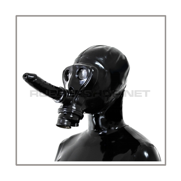 SIMIAN-gasmask-set TWIN-AB with detachable breathable dildostick, thread-cover, separate openface-hood and sunglasses-stickers