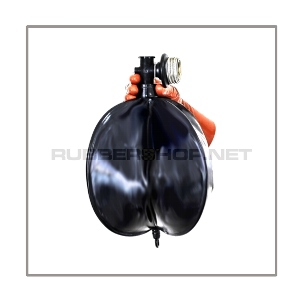Rebreathing bag RB-W6 with angled gasmaskthread-port, breathingreduction-adaptor and 6 litre volume