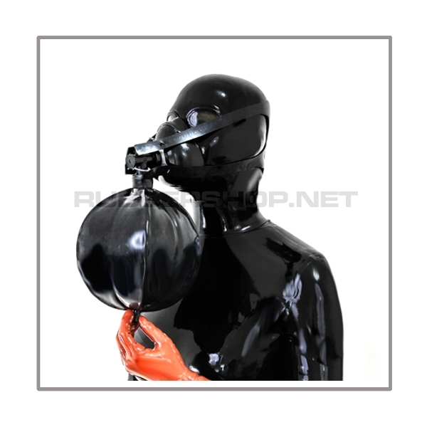 Respiratormask-set AIR-N3-H with breathing-reduction-angle-adaptor, head-harness and rebreathing-bag 3 litre XL