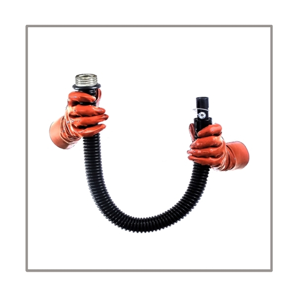 Gasmask-tube T50-D-MR highly flexible with length 50 cm = 20 inch, gasmask thread male and 22 mm mediport female with breathing-reduction-adaptor