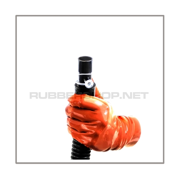 Gasmask-tube T100-D-FR highly flexible with length 100 cm = 40 inch, gasmask thread female and 22 mm mediport female with breathing-reduction-adaptor