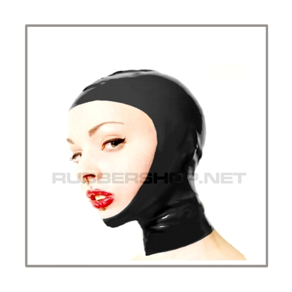 Black openface latex hood OFH-B2 with anatomical 2-panel shape of latex-sheeting