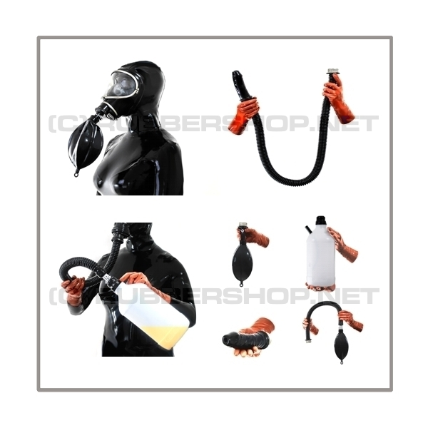 Deluxe MSA-AUER gasmask-zipperhood-system ULTIMATE-3S with tube-set, sniffdildo, inhaler-set and rebreathing-bag-set