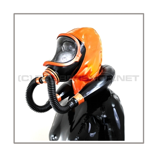 Deluxe CLIMAX gasmask-zipperhood-system SMELLBAG-X with neckrespirator-rubbersmell-bag-set
