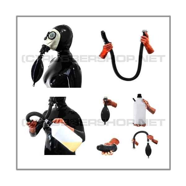 Deluxe FASER gasmask-zipperhood-system ULTIMATE-F with tube-set, sniffdildo, inhaler-set and rebreathing-bag-set