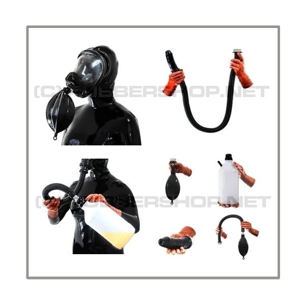Deluxe Draeger FUTURA gasmask-zipperhood-system ULTIMATE-D with tube-set, sniffdildo, inhaler-set and rebreathing-bag-set