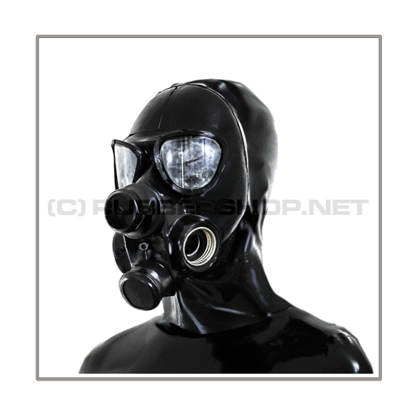 Deluxe gasmask-zipper-hood HR-P4 with four gasmasks threads and three thread cover - model PMK-2TA