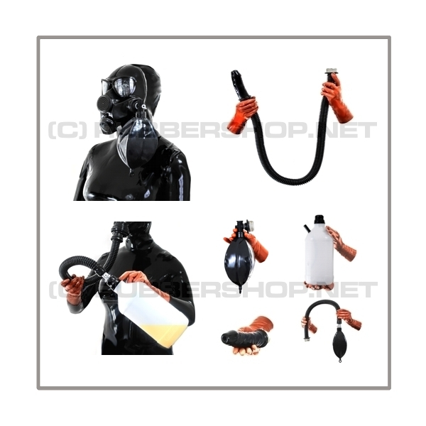 Deluxe PMK-2TA gasmask-zipperhood-system ULTIMATE-P with tube-set, sniffdildo, inhaler-set and rebreathing-bag-set