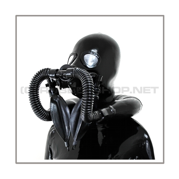 Available immediately! Deluxe STUDIO GUM heavyrubber gasmask-zipperhood-system with neckrespirator-rubbersmell-bag-set and 2 rebreathing bags